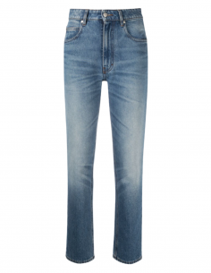 Jean bleu AMI PARIS taille haute pour femme coupe droite effet délavé - SS21
