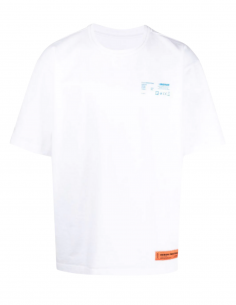"HERON PRESTON T-shirt in white cotton for men with ""Worker"" print and logo - SS21"