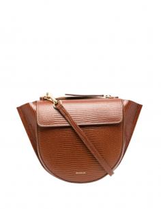 "Sac à main WANDLER ""Hortensia"" en cuir marron style lézard pour femme - SS21"