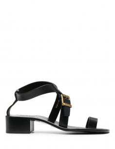 Sandales à petit talon en cuir noir MAISON MARGIELA pour femme avec entre-doigts - SS21