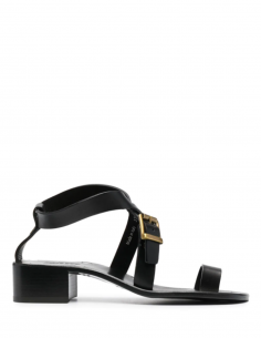 MAISON MARGIELA black leather low-heeled sandals for women with between-fingers - SS21