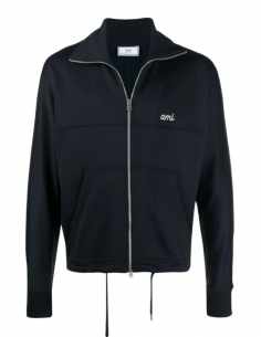 AMI PARIS navy blue sweatshirt with zip-neck collar for men - SS21