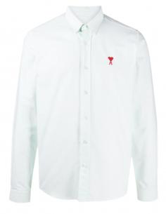 Chemise rayée AMI PARIS verte avec logo pour homme - SS21