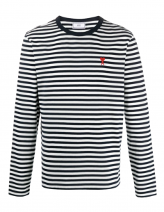 AMI PARIS striped t-shirt for men with long sleeves with logo - SS21