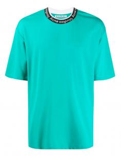 T-shirt ACNE STUDIOS vert turquoise pour homme avec logo brodé sur le col - SS21