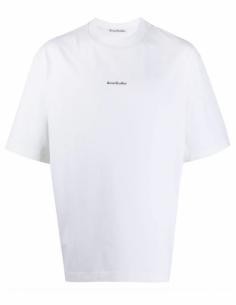 T-shirt classique blanc ACNE STUDIOS oversize pour homme avec logo imprimé - SS21