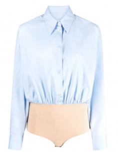 Long-sleeved MM6 blue shirt bodysuit for women - SS21