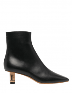 MM6 black leather boots with cork stopper heel for women - SS21