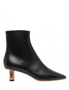 Bottines MM6 en cuir noir à talon en bouchon de liege pour femme - SS21