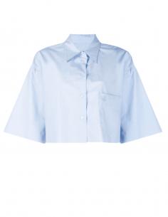 Chemisette MM6 bleue bas coupé franc pour femme - SS21