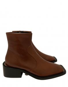 Boots Bout Carré Talon Carré Marron