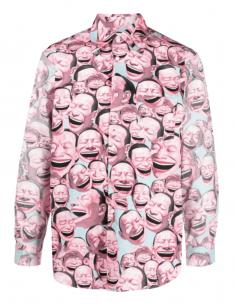 COMME DES GARÇONS SHIRT pink shirt for men with Yue Minjun faces print - SS21