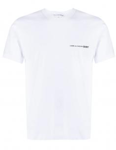 COMME DES GARÇONS SHIRT white t-shirt with chest logo for men - SS21