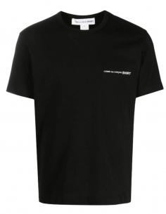 COMME DES GARÇONS SHIRT black t-shirt with chest logo for men - SS21