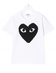 T-shirt COMME DES GARÇONS PLAY KIDS blanc pour enfant avec grand coeur noir - SS21