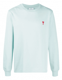 AMI PARIS green t-shirt with long sleeves and red heart logo for men - SS21