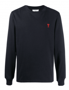 AMI PARIS blue t-shirt with long sleeves and red heart logo for men - SS21