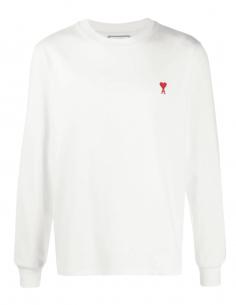 T-shirt AMI PARIS blanc à manches longues et logo coeur rouge pour homme - SS21
