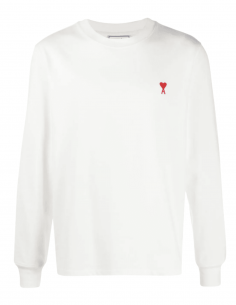 AMI PARIS white t-shirt with long sleeves and red heart logo for men - SS21