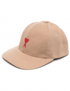 AMI PARIS beige cap with red embroidered logo for men - SS21