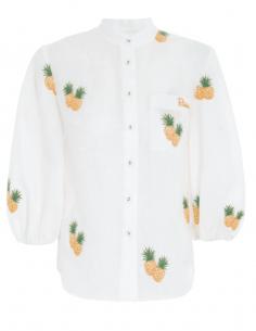 Blouse en lin blanc ZIMMERMANN à motifs ananas et manches bouffantes pour femme - SS21