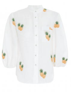 ZIMMERMANN white linen blouse with pineapple patterns and puffed sleeves for women - SS21