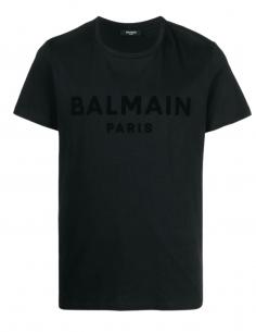 BALMAIN black t-shirt with embossed textured logo in velvet for men - SS21