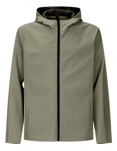 Khaki zipped jacket HARRIS WHARF with water-repellent hood for men - SS21