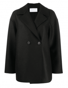 HARRIS WHARF 2-buttons short black pea coat for women - SS21