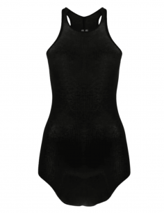 RICK OWENS black ribbed long and fluid tank top for women - SS21