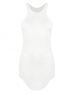 RICK OWENS white ribbed long and fluid tank top for women - SS21