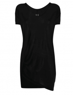 RICK OWENS fluid and long-cut black t-shirt for women - SS21