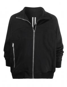 Veste noire RICK OWENS zippée col montant pour homme - SS21