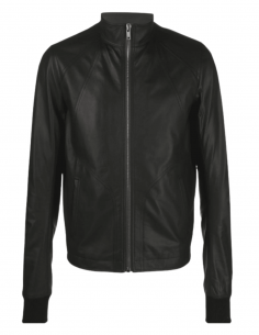 """RICK OWENS """"Intarsia"""" jacket in black leather for men - SS21"""