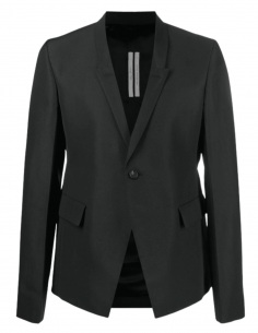 Black blazer jacket RICK OWENS with pleated back and 1 button for men - SS21