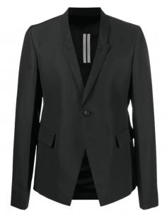 Veste blazer RICK OWENS noir/gris dos plissé avec 1 bouton pour homme - SS21