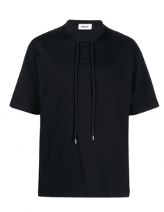 AMBUSH black t-shirt with cords and small logo for men - SS21
