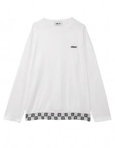 T-shirt AMBUSH blanc à manches longues avec emblème et logo pour homme - SS21