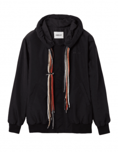 Black AMBUSH jacket with hood and multi-strings for men - SS21
