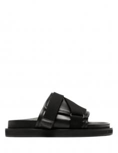 Sandales AMBUSH en cuir noir avec sangles et scratch pour homme - S21