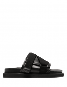 AMBUSH sandals in black leather with straps and velcro for men - S21