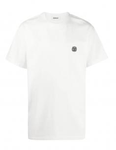 White AMBUSH t-shirt with small round logo on chest for men - SS21