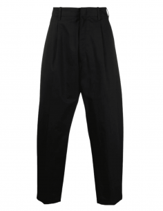 Pantalon de costume large AMBUSH plissé en coton noir pour homme - SS21