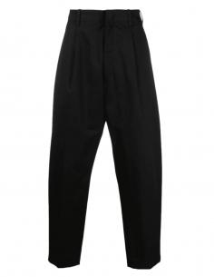 AMBUSH wide-leg pleated black cotton suit pants for men - SS21
