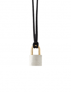 """Lock"" necklace AMBUSH in silver padlock charm with black leather link - SS21"