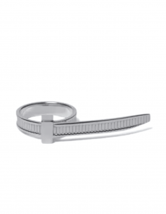 AMBUSH Zip Tie ring in silver with ribbed design - SS21
