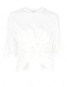 T-shirt AMBUSH ecru avec noeud drapé devant pour femme - SS21