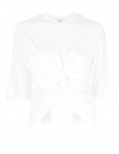 Ecru AMBUSH t-shirt with draped knot in front for women - SS21