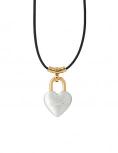 Collier coeur AMBUSH bicolore en argent avec lien en cuir - SS21