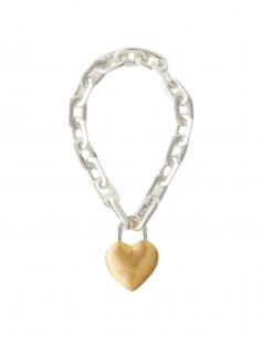 """AMBUSH chain bracelet with """"Padlock"""" heart in silver - SS21"""